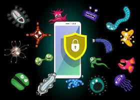 Mobile protection. Smartphone with security shield and infection computer virus attack. Spam data, fraud internet error message, insecure connection, online scam concept. Vector black illustration EPS