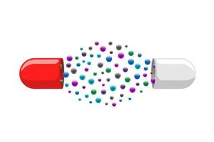 Medical capsule pill open with many colorful molecules. Medicine drug vitamin improve health concept. Red and white pharmaceutical antibiotic halves structure with particles vector eps illustration