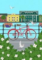 Old town embankment on water poster. Green bush thickets, bicycle by fence and flying seagulls over river. European city architecture and street background. Vector colorful card or banner illustration