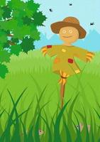 Scarecrow in green field summer poster. Farm on nature rural background with tree foliage and tall grass for harvesting. Countryside farmland tranquil summertime landscape. Cartoon vector illustration