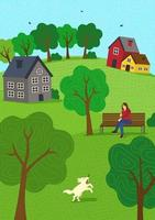 Summer rural mood hand drawn fall season nature. Girl on park bench and walks dog. Lawn hills and trees. Countryside rest rustic scene vector illustration for poster, banner, card, brochure or cover