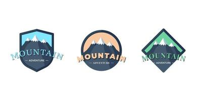 Mountain Adventure shield logo badge for extreme tourism and sport hiking. Outdoor nature rock camping square and circle label set vector eps illustration