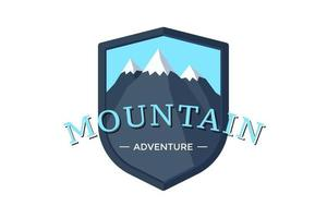 Mountain Adventure shield logo badge for extreme tourism and sport hiking. Outdoor nature rock camping label vector illustration