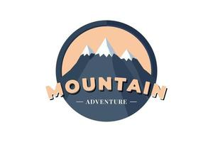 Mountain Adventure circle shield logo badge for extreme tourism and sport hiking. Outdoor nature camping label vector eps illustration