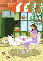 City street cafe summer scene. Girl sits at outdoors restaurant table terrace under tree holds cappuccino coffee cup and enjoys the moment. Cat on steps and birds peck seeds on road. Vector eps poster