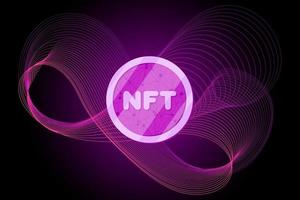 NFT non fungible token on abstract linear striped lilac purple background. Online money for buy exclusive art poster. Pay for unique collectibles in games banner. Blockchain technology crypto coin eps vector