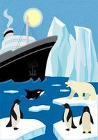 Winter hand-drawn poster north shipping in wildlife. Sail icebreaker and iceberg in northern ocean. Polar bear and penguins sitting on ice floe, killer whale emerge from wave. Arctic and antarctic eps vector