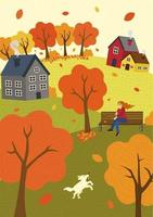 Autumn mood hand drawn fall season nature. Girl on park bench in wind and walks dog. Lawn hills and trees. Countryside rest rustic scene vector illustration for poster, banner, card, brochure or cover