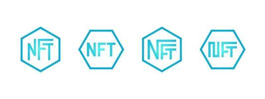 NFT non-fungible blue token logo set. Online money for buy exclusive art icon collection. Pay for unique collectibles in games. Blockchain technology crypto coins. Vector isolated eps illustration