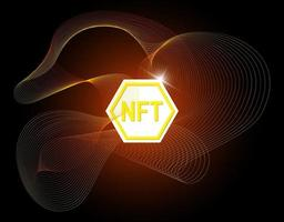 NFT non fungible token on abstract linear striped background. Online money for buy exclusive art poster. Pay for unique collectibles in games banner. Blockchain technology crypto coin vector eps