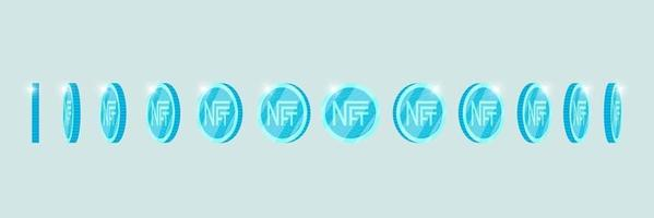 NFT non fungible light blue token turn around different position set. Online money for buy exclusive art. Pay for unique collectibles. Blockchain technology crypto coin rotation icon for animation eps vector