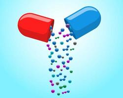 Medical capsule pill open with falling out colorful molecules. Medicine drug vitamin improve health concept. Red and blue pharmaceutical antibiotic halves with particles vector eps illustration