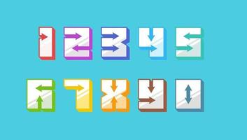 Numbers colored 3d retro vintage style set with arrows trendy typography consisiting of 1 2 3 4 5 6 7 8 9 0 for poster design or greeting card. Vector eps modern font illustration
