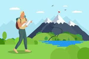 Man traveler with backpack and map walks to mountain along lake valley. Tourist top goal achievement route. Male hiker success outdoor recreation and climbing peak. Nature exploration adventure vector