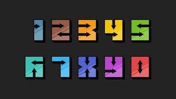 Numbers colourful set in 3d retro vintage style with arrows trendy typography consisiting of 1 2 3 4 5 6 7 8 9 0 for poster design or greeting card. Vector modern flat eps font