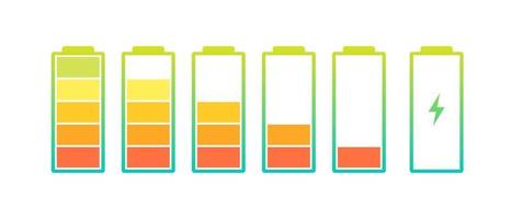 Battery charge indicator icons set. Charging level full power low to high up and lightning. Gadget alkaline energy status vector colorful eps illustration