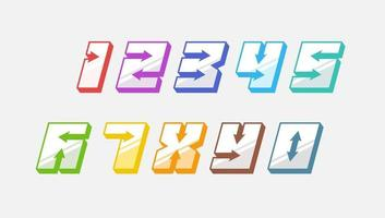Numbers colourful set in 3d italic vintage style with arrows in speedy srtyle trendy typography consisiting of 1 2 3 4 5 6 7 8 9 0 for poster design or greeting card. Vector modern font EPS 10