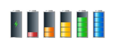 High to low power batteri charged energy indicator level set with recharging icon. Empty to full battery indicating red orange yellow blue green cylinders. Vector batteries recharge illustration