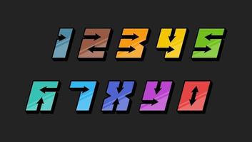 Numbers colourful set in 3d italic vintage style with arrows in speedy srtyle trendy typography consisiting of 1 2 3 4 5 6 7 8 9 0 for poster design and or greeting card. Vector modern font EPS 10