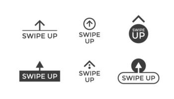 Swipe up button scroll pictogram icon set for blogger web ui design. Vector arrow up for application and social network stories. Eps isolated illustration