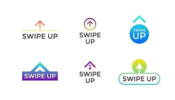 Swipe up button icon set. Application and social network scroll arrow pictogram for stories design blogger. Vector modern gradient style eps 10