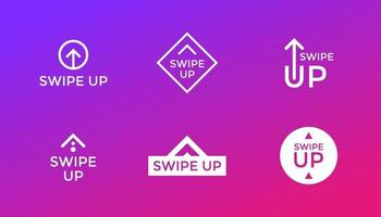 Swipe up icon set isolated on background for stories design, scroll pictogram. Arrow up logo for blogger. Vector 10 eps