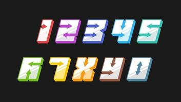 Number colourful set in 3d italic vintage style with arrows in speedy srtyle trendy typography consisiting of 1 2 3 4 5 6 7 8 9 0 for poster design or greeting card. Vector modern font EPS 10