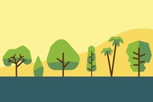 Collection of simplicity tree and shrub flat design. Vector illustration.