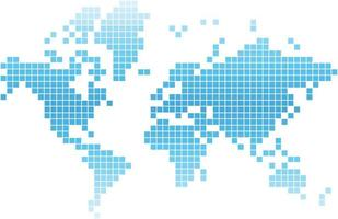 Blue square world map on white background. vector