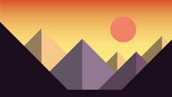 Simplicity sunset at mountains landscape modern style wallpaper background. vector