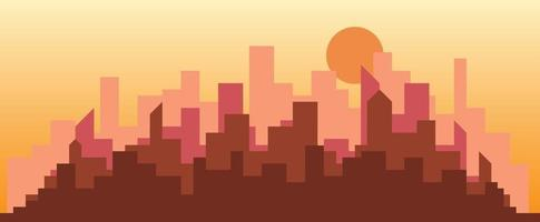 Abstract futuristic city sky sunset with modern buildings vector wallpaper background.
