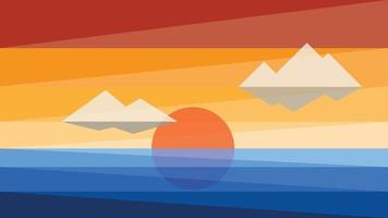 Simplicity sunset at the sea modern style wallpaper background. vector