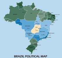 Brazil political map divide by state colorful outline simplicity style. vector