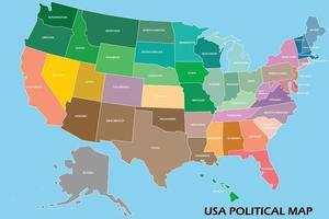 United States of America political map vector