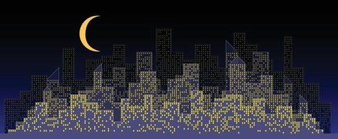 Abstract futuristic city night sky with modern buildings vector wallpaper background.
