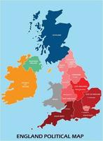 England political map divide by state colorful outline simplicity style. vector