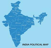 India political map divide by state colorful outline simplicity style. vector