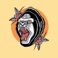 head gorilla with red rose artwork design vector