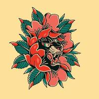 head panther with red rose artwork design for tattoo or clothings vector
