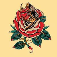 artwork cobra with red rose vector illustration design