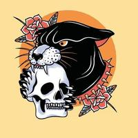 head black panther with red rose and skull head artwork design vector