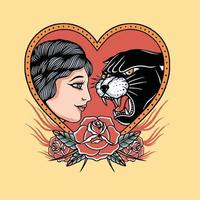 head panther with head young women and red rose artwork vector