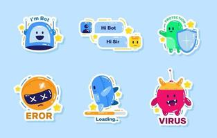 Chatbot Service Emotion Sticker Set vector