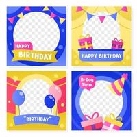 Birthday Party Colorful Twibbon Set vector