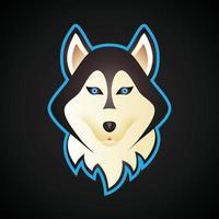 husky dog head esports gaming logo vector
