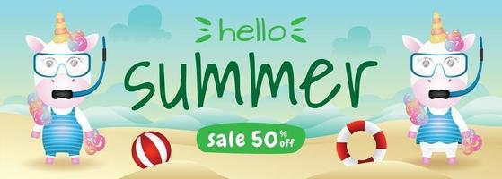 summer sale banner with a cute unicorn couple using snorkeling costume in beach vector