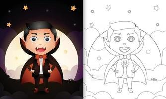 coloring book with a cute boy using costume dracula halloween vector