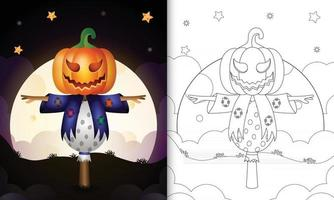 coloring book with scarecrow and pumpkin halloween vector