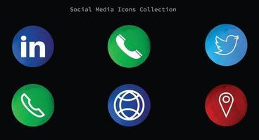 social media map twitter web call icon vector