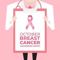 Doctor with lab coat holding a clipboard showing a pink ribbon sign. Breast Cancer Awareness banner. vector